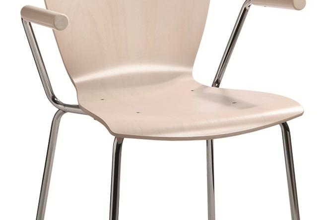 107 - ein Holzschalenstuhl mit Armlehne von Kleinkopf