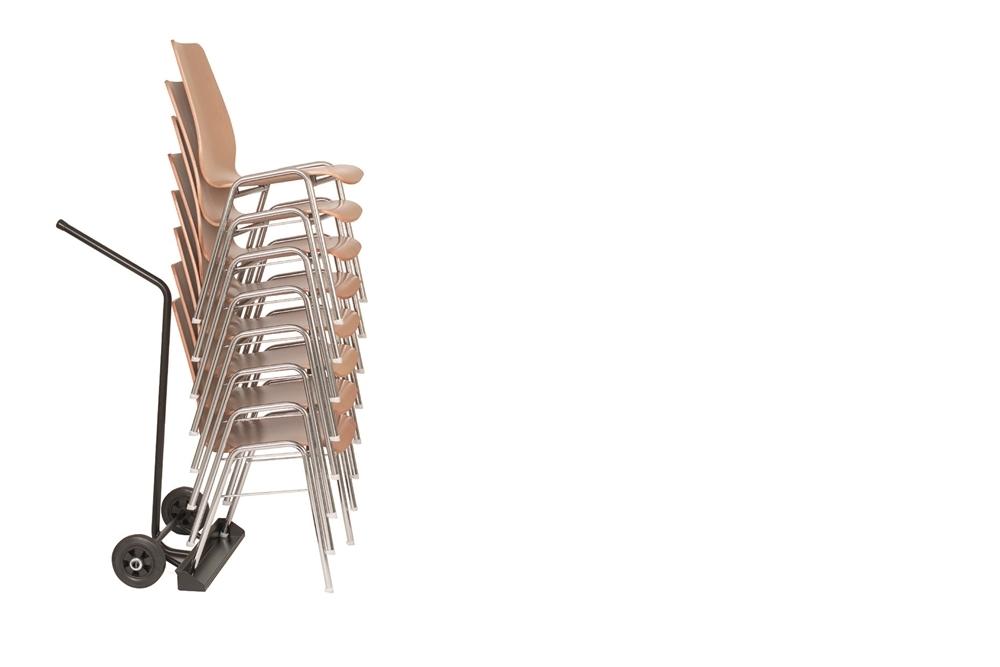 Stuhltransportwagen 520 mit Stapel Holzschalenstühlen