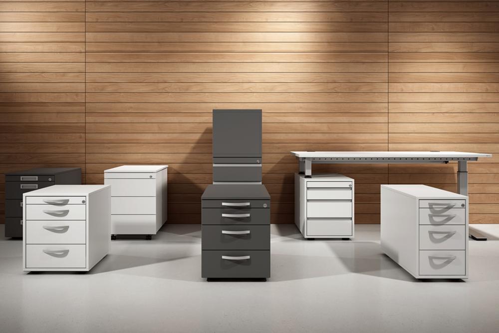 verschiedene Container Büromöbel